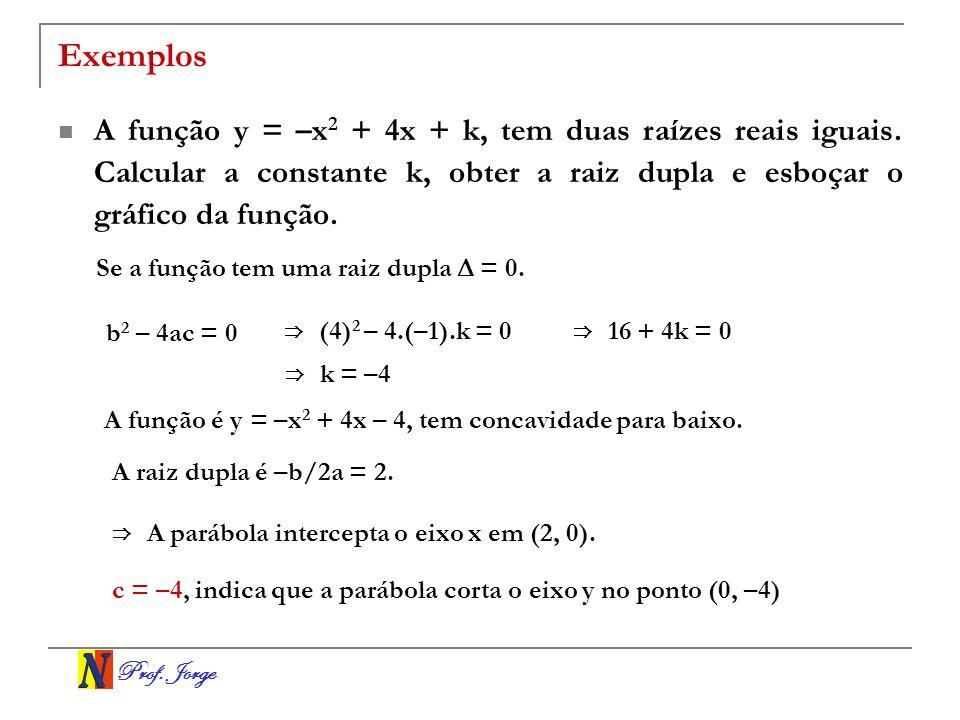 Prof. Jorge Exemplos A função y = –x 2 + 4x + k, tem duas raízes reais iguais. Calcular a constante k, obter a raiz dupla e esboçar o gráfico da funçã