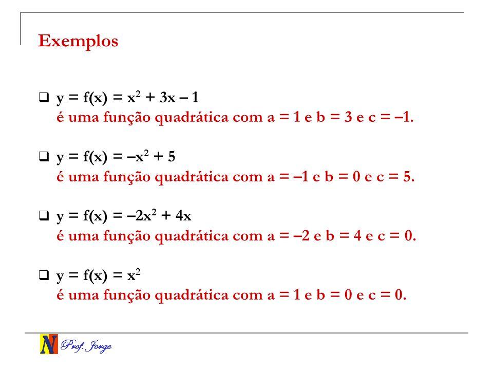 Prof. Jorge Exemplos y = f(x) = x 2 + 3x – 1 é uma função quadrática com a = 1 e b = 3 e c = –1. y = f(x) = –x 2 + 5 é uma função quadrática com a = –