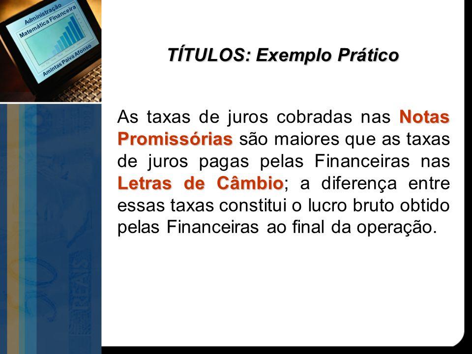 TÍTULOS: Exemplo Prático Notas Promissórias Letras de Câmbio As taxas de juros cobradas nas Notas Promissórias são maiores que as taxas de juros pagas