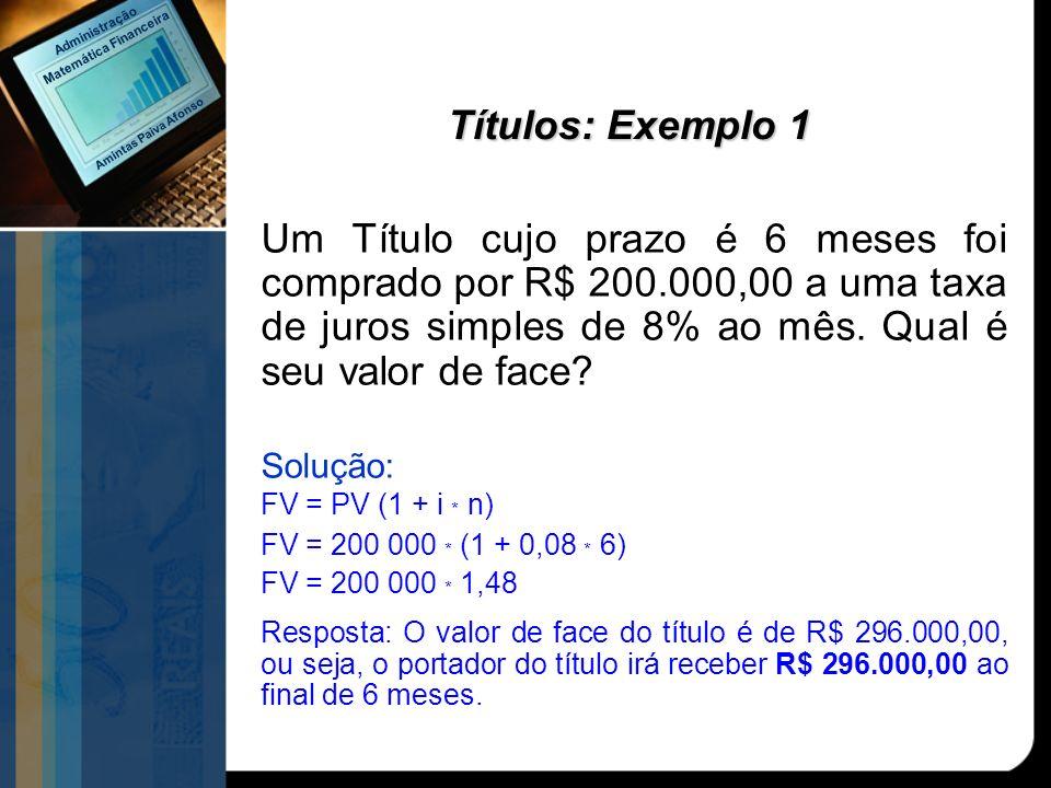 Títulos: Exemplo 1 Um Título cujo prazo é 6 meses foi comprado por R$ 200.000,00 a uma taxa de juros simples de 8% ao mês. Qual é seu valor de face? S