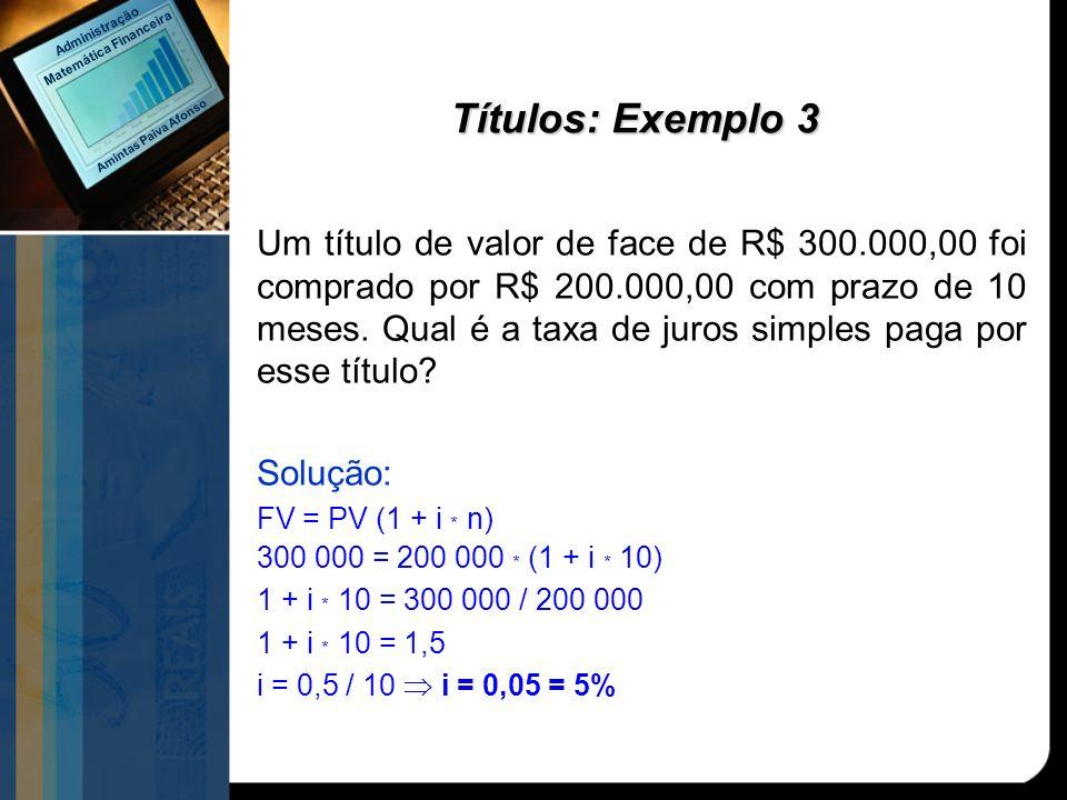 Títulos: Exemplo 3 Um título de valor de face de R$ 300.000,00 foi comprado por R$ 200.000,00 com prazo de 10 meses. Qual é a taxa de juros simples pa