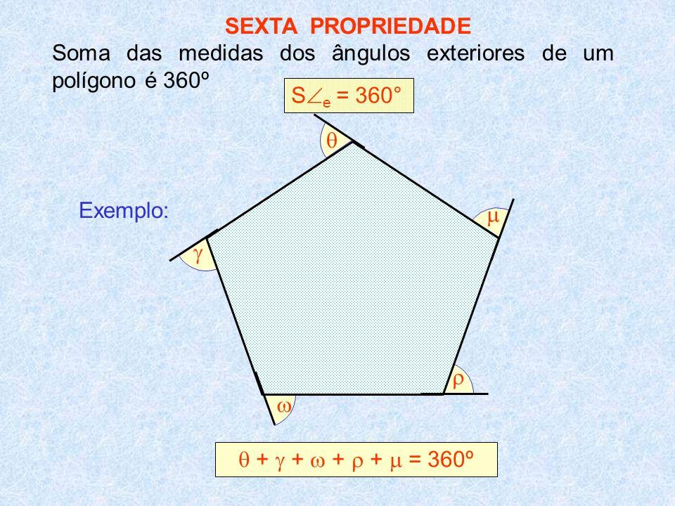 SEXTA PROPRIEDADE Soma das medidas dos ângulos exteriores de um polígono é 360º S e = 360° + + + + = 360º Exemplo: