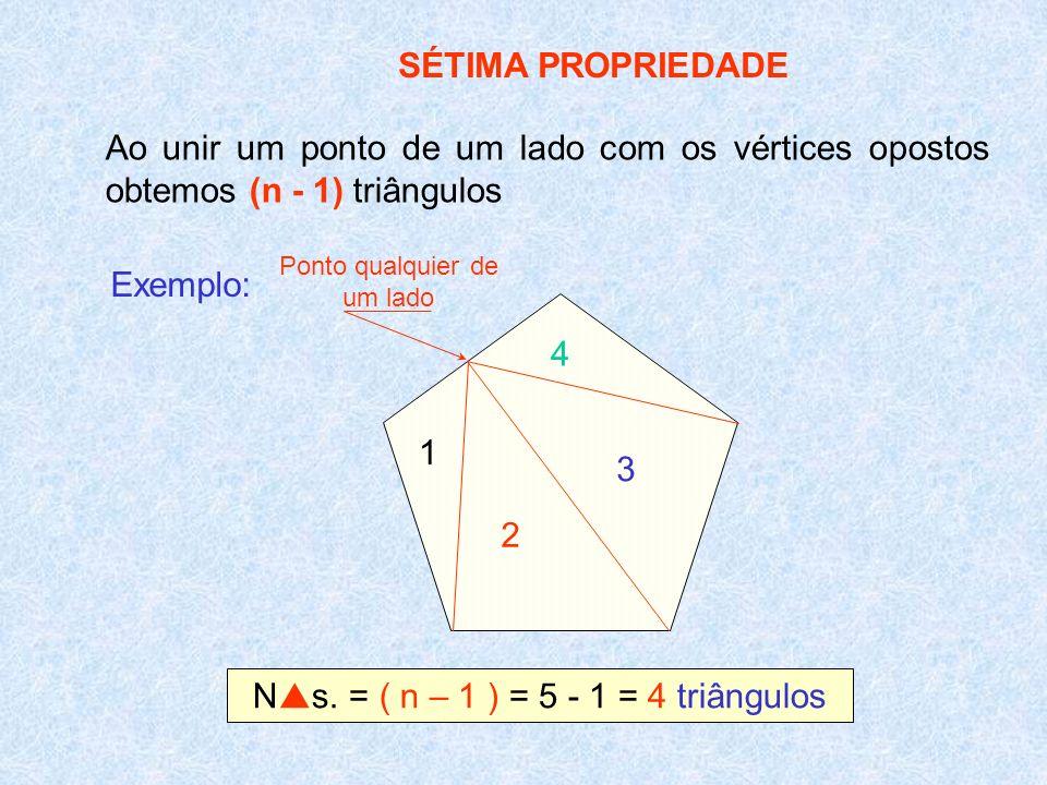 SÉTIMA PROPRIEDADE Ao unir um ponto de um lado com os vértices opostos obtemos (n - 1) triângulos Exemplo: 3 2 1 4 N s. = ( n – 1 ) = 5 - 1 = 4 triâng