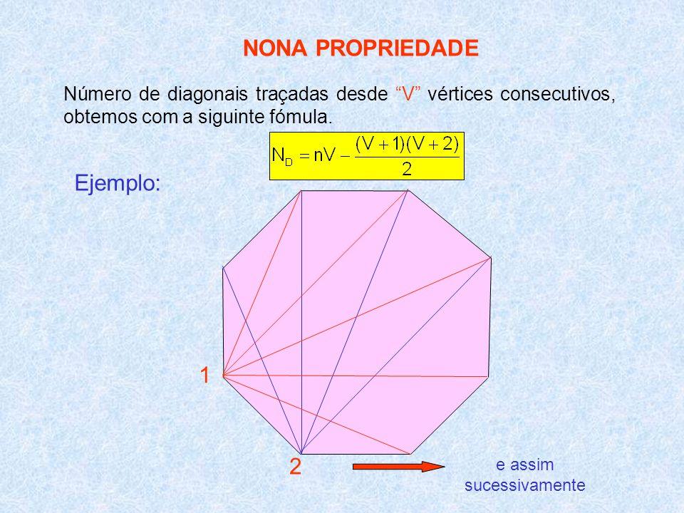 NONA PROPRIEDADE Número de diagonais traçadas desde V vértices consecutivos, obtemos com a siguinte fómula. Ejemplo: 2 1 e assim sucessivamente
