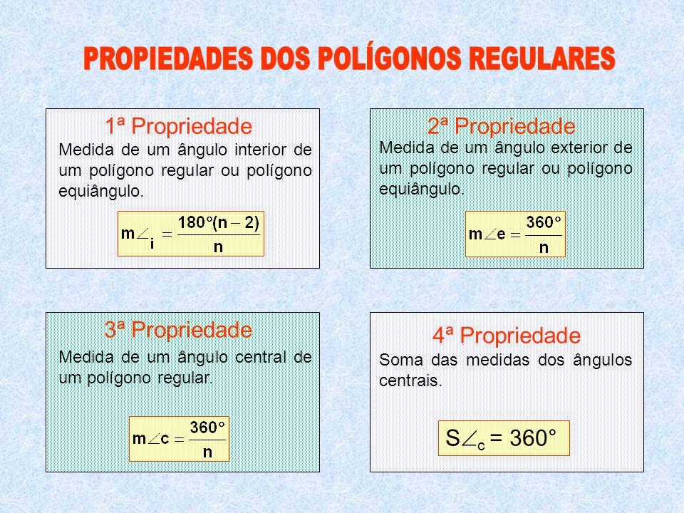 1ª Propriedade2ª Propriedade 3ª Propriedade 4ª Propriedade Soma das medidas dos ângulos centrais. S c = 360° Medida de um ângulo interior de um polígo