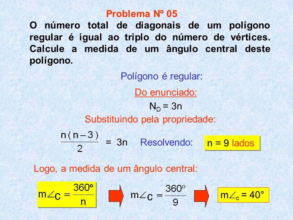 O número total de diagonais de um polígono regular é igual ao triplo do número de vértices. Calcule a medida de um ângulo central deste polígono. Reso