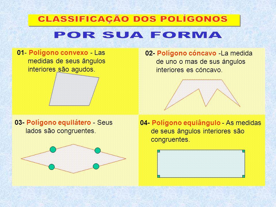 01- Polígono convexo - Las medidas de seus ângulos interiores são agudos. 02- Polígono cóncavo -La medida de uno o mas de sus ángulos interiores es có