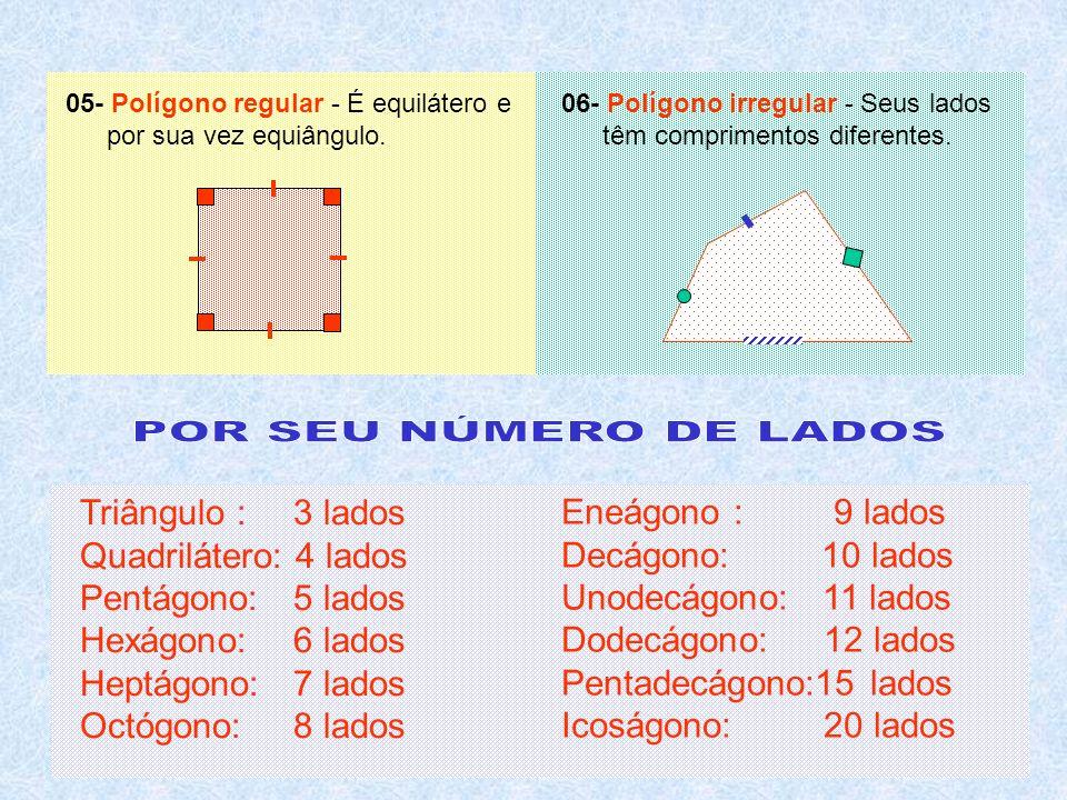 Triângulo : 3 lados Quadrilátero: 4 lados Pentágono:5 lados Hexágono:6 lados Heptágono:7 lados Octógono:8 lados Eneágono : 9 lados Decágono: 10 lados