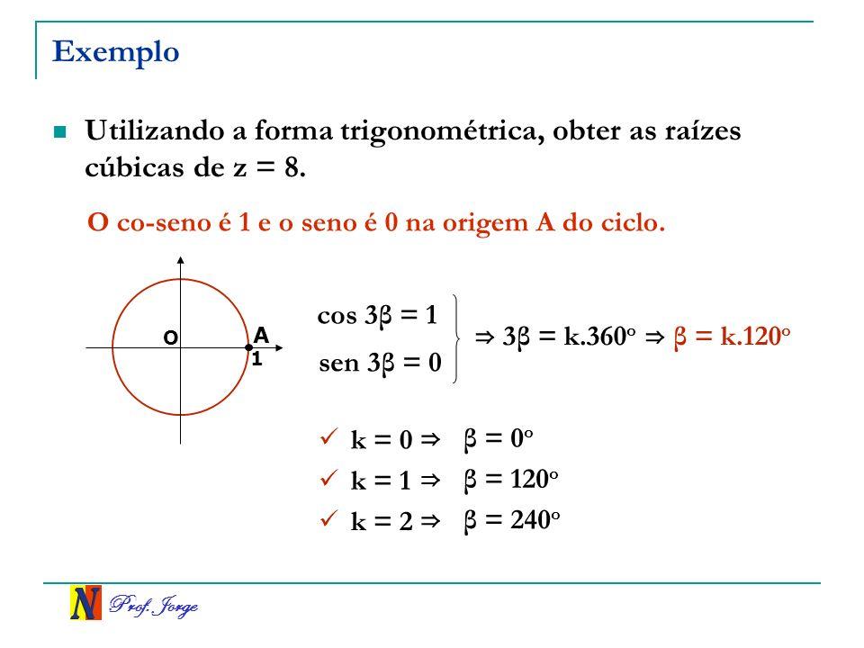 Prof.Jorge Exemplo Utilizando a forma trigonométrica, obter as raízes cúbicas de z = 8.