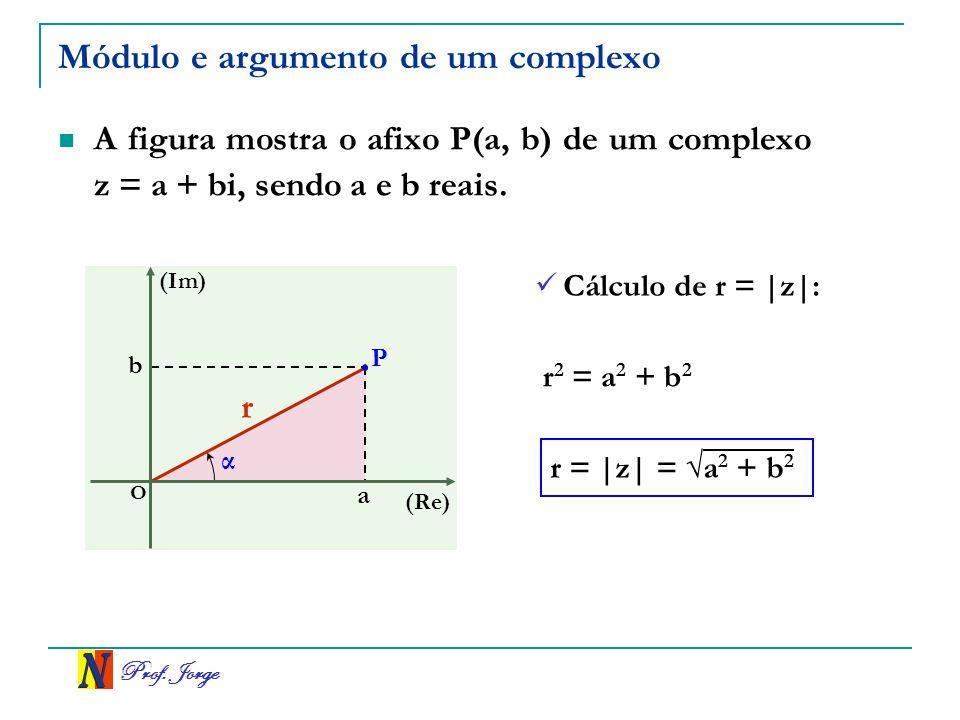 Prof.Jorge Exemplos Se z = 2(cos 15º + i sen 15º), calcular z 6.