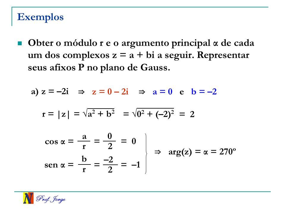 Prof. Jorge Operações na forma trigonométrica