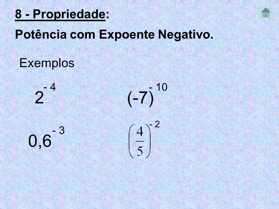 2 - 4 Exemplos 0,6 - 3 (-7) - 10 - 2 8 - Propriedade: Potência com Expoente Negativo.