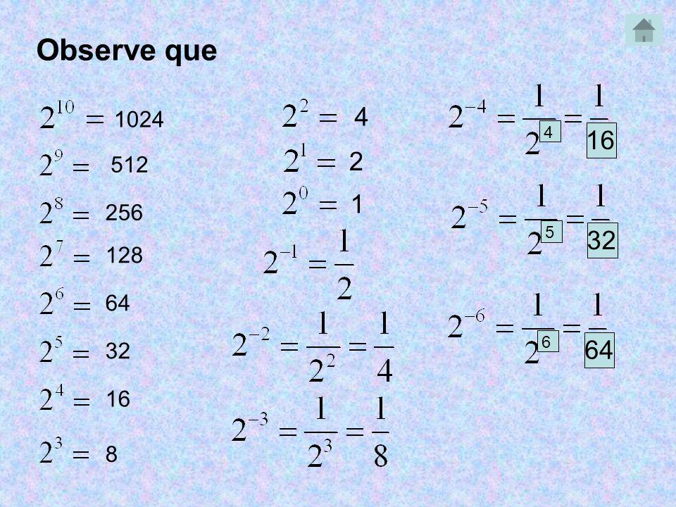 Observe que 1024 512 256 128 64 32 16 8 4 2 1 4 5 32 6 64
