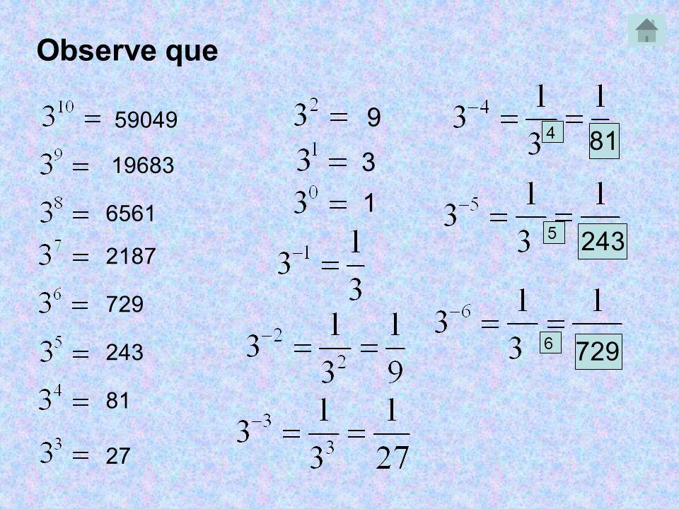 59049 19683 6561 2187 729 243 81 27 9 3 1 4 81 5 243 6 729 Observe que