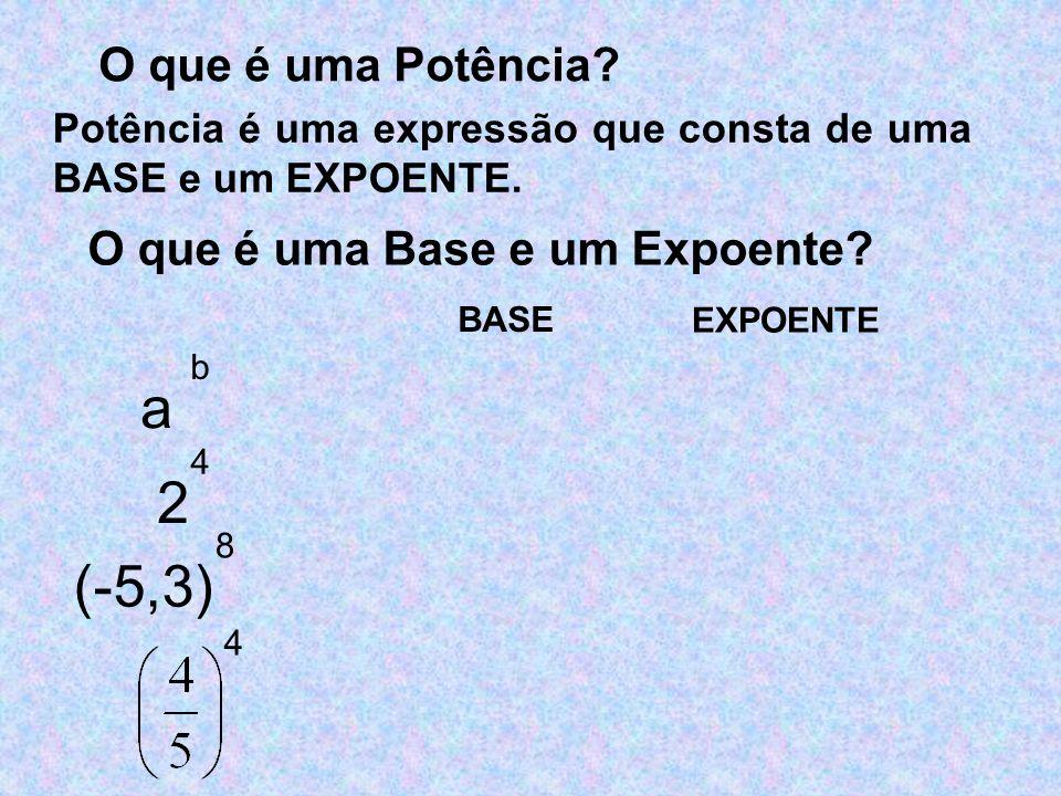 O que é uma Potência? Potência é uma expressão que consta de uma BASE e um EXPOENTE. O que é uma Base e um Expoente? 2 4 BASE EXPOENTE (-5,3) 8 4 a b
