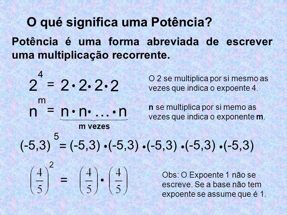 O qué significa uma Potência? Potência é uma forma abreviada de escrever uma multiplicação recorrente. 2 4 (-5,3) 5 2 = 222 2 O 2 se multiplica por si