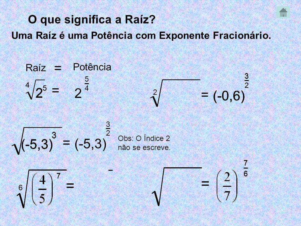 _ _ O que significa a Raíz? (-5,3) 3 = Obs: O Índice 2 não se escreve. Uma Raíz é uma Potência com Exponente Fracionário. 4 2 5 = 5 2 _ 4 2 5 4 3 (-5,