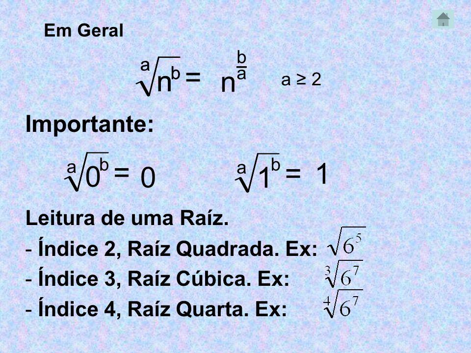 _ Importante: Leitura de uma Raíz. - Índice 2, Raíz Quadrada. Ex: - Índice 3, Raíz Cúbica. Ex: - Índice 4, Raíz Quarta. Ex: Em Geral a n b = b n a n b