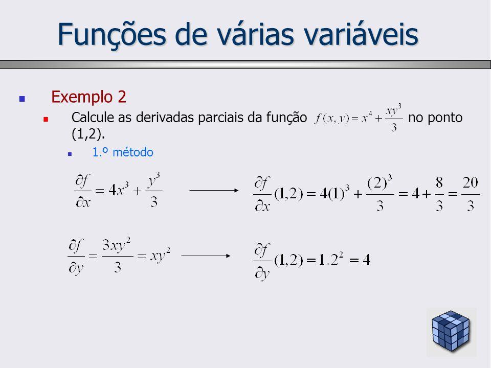 Funções de várias variáveis Exemplo 2 Calcule as derivadas parciais da função no ponto (1,2). 1.º método