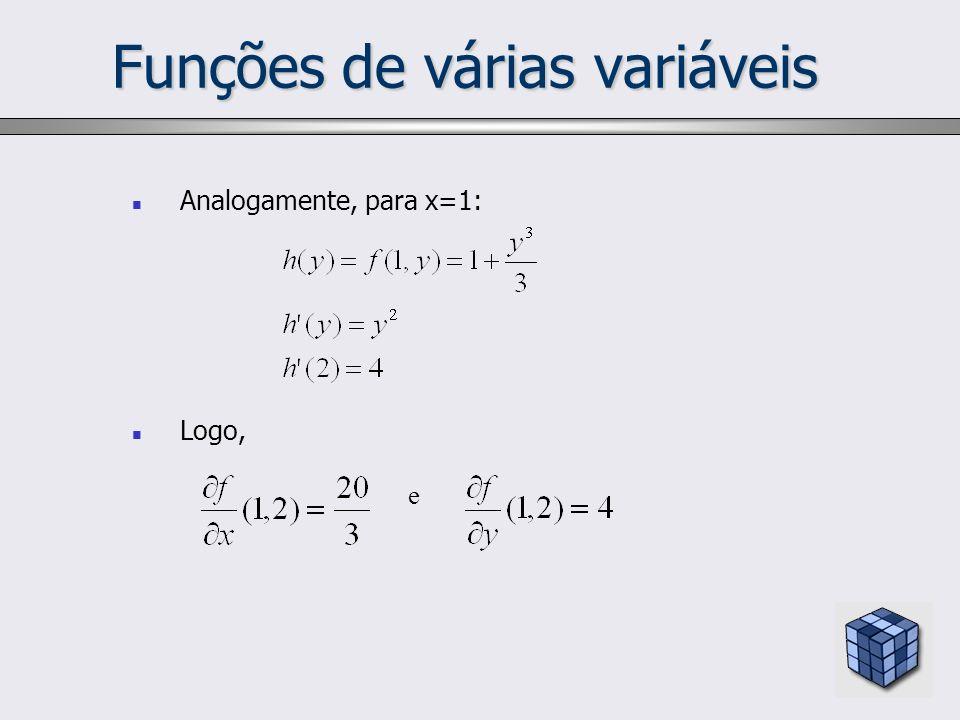 Funções de várias variáveis Analogamente, para x=1: Logo, e
