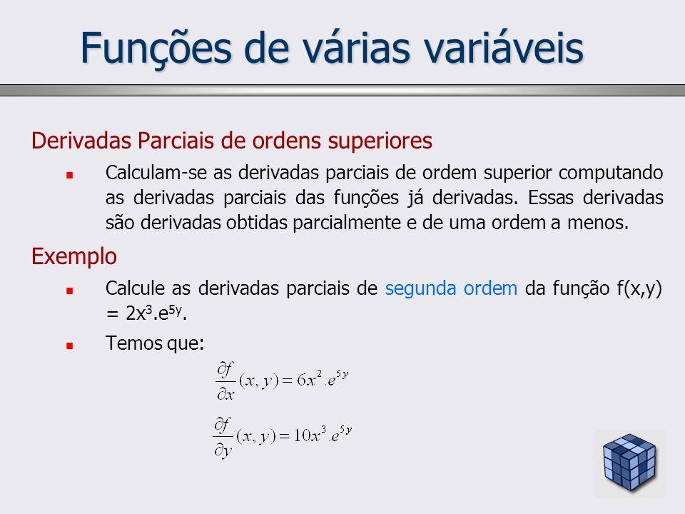 Funções de várias variáveis Derivadas Parciais de ordens superiores Calculam-se as derivadas parciais de ordem superior computando as derivadas parcia