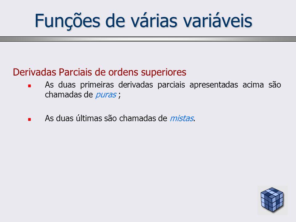 Funções de várias variáveis Derivadas Parciais de ordens superiores As duas primeiras derivadas parciais apresentadas acima são chamadas de puras ; As