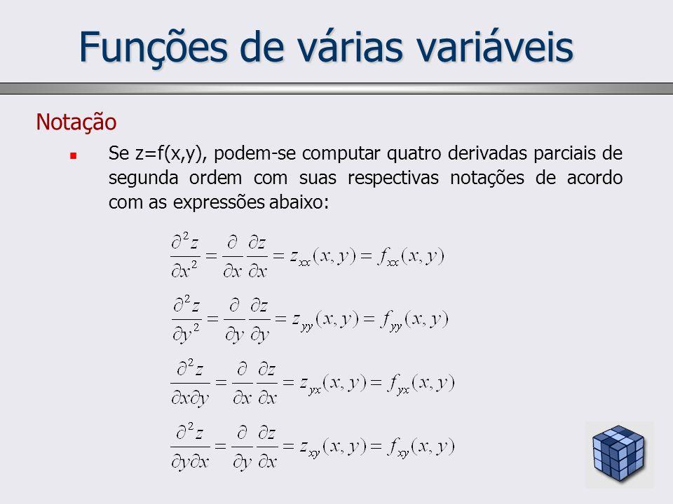 Funções de várias variáveis Notação Se z=f(x,y), podem-se computar quatro derivadas parciais de segunda ordem com suas respectivas notações de acordo