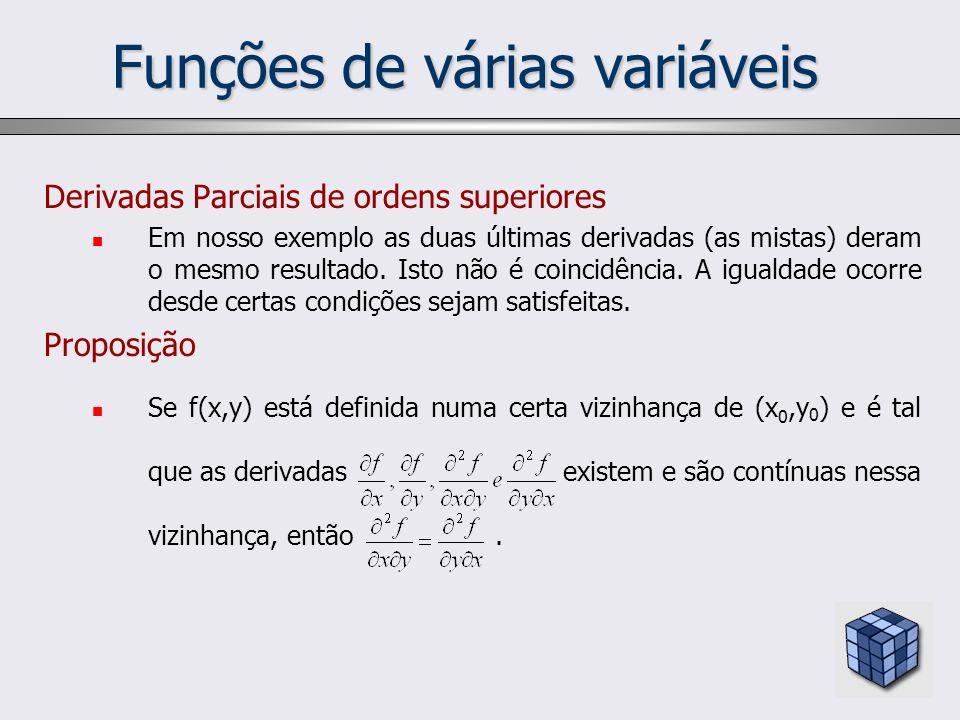 Funções de várias variáveis Derivadas Parciais de ordens superiores Em nosso exemplo as duas últimas derivadas (as mistas) deram o mesmo resultado. Is