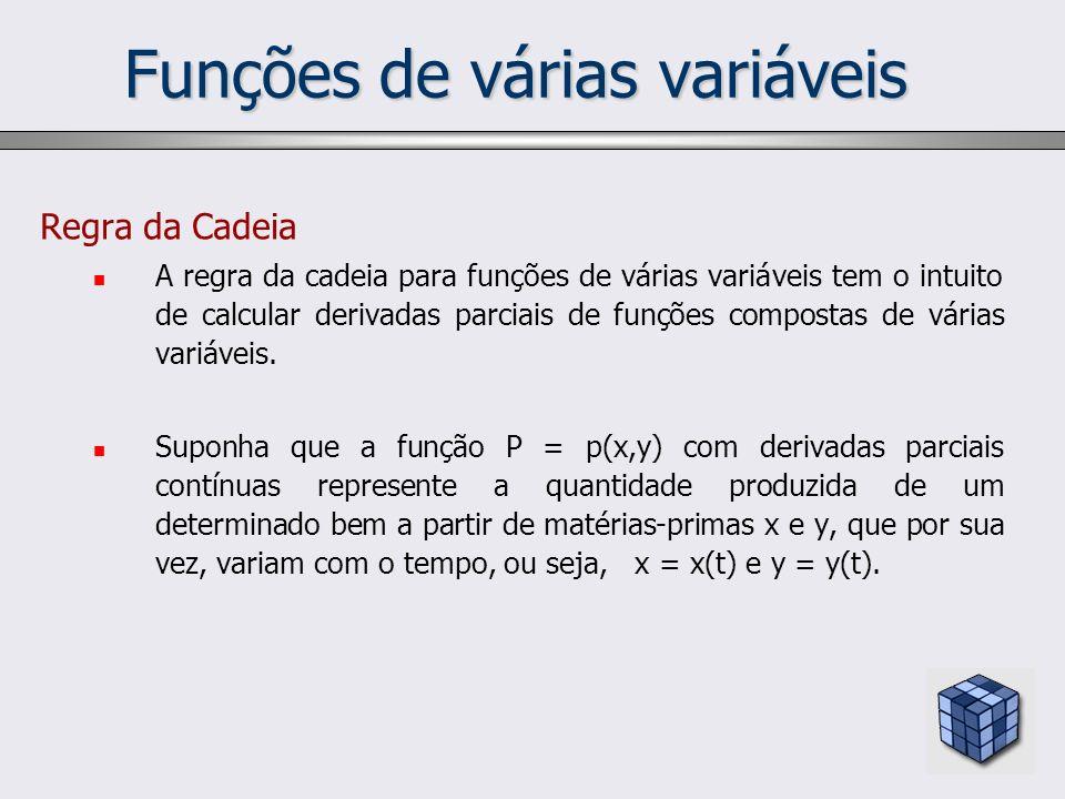 Funções de várias variáveis Regra da Cadeia A regra da cadeia para funções de várias variáveis tem o intuito de calcular derivadas parciais de funções
