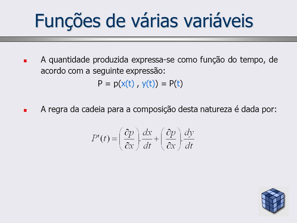 Funções de várias variáveis A quantidade produzida expressa-se como função do tempo, de acordo com a seguinte expressão: P = p(x(t), y(t)) = P(t) A re