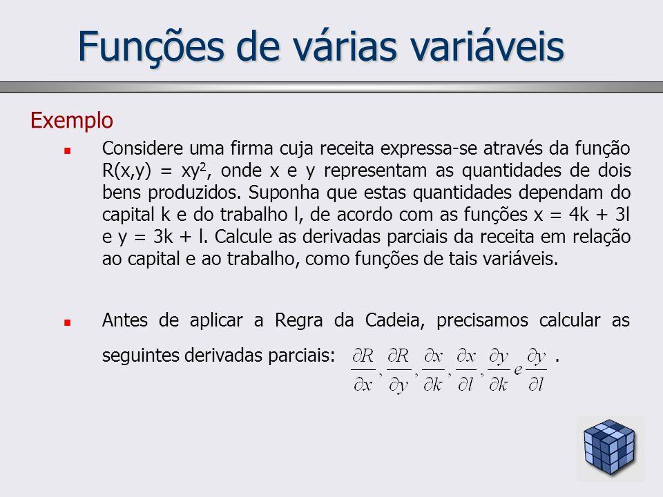 Funções de várias variáveis Exemplo Considere uma firma cuja receita expressa-se através da função R(x,y) = xy 2, onde x e y representam as quantidade