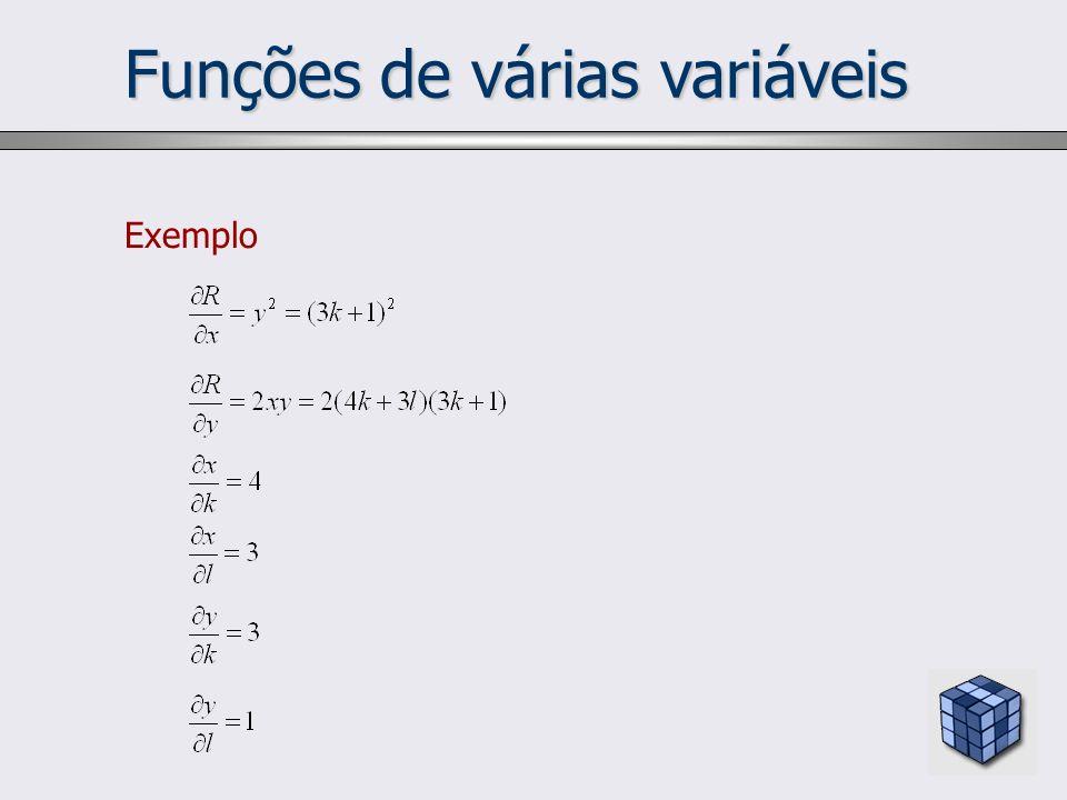 Funções de várias variáveis Exemplo