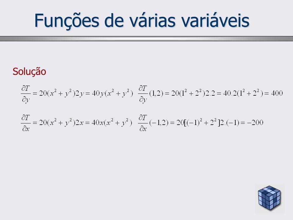 Funções de várias variáveis Solução