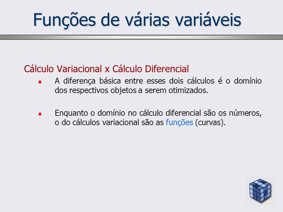 Cálculo Variacional x Cálculo Diferencial A diferença básica entre esses dois cálculos é o domínio dos respectivos objetos a serem otimizados. Enquant