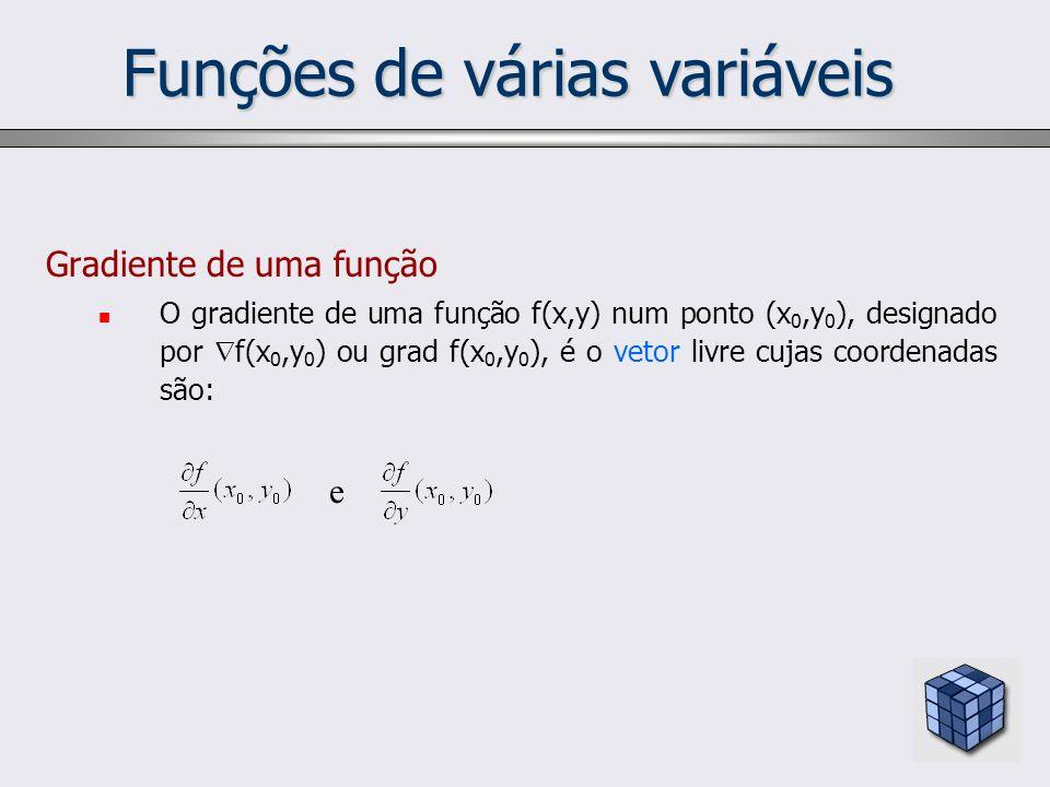 Funções de várias variáveis Gradiente de uma função O gradiente de uma função f(x,y) num ponto (x 0,y 0 ), designado por f(x 0,y 0 ) ou grad f(x 0,y 0