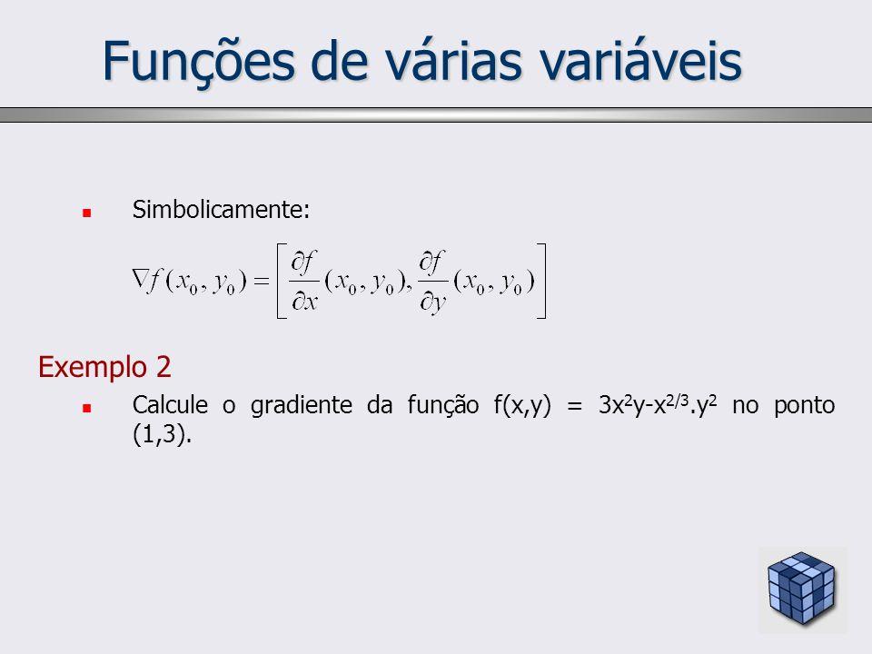 Funções de várias variáveis Simbolicamente: Exemplo 2 Calcule o gradiente da função f(x,y) = 3x 2 y-x 2/3.y 2 no ponto (1,3).