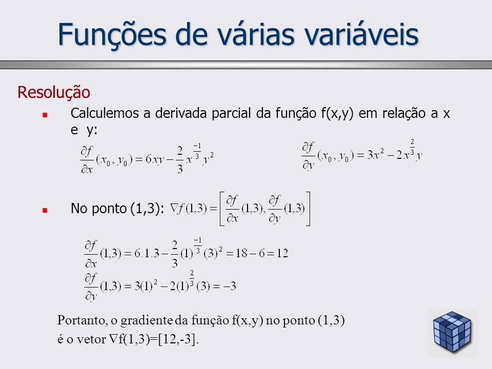 Funções de várias variáveis Resolução Calculemos a derivada parcial da função f(x,y) em relação a x e y: No ponto (1,3): Portanto, o gradiente da funç