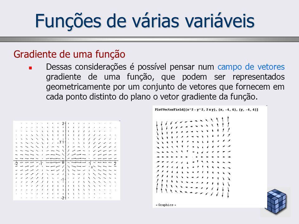 Funções de várias variáveis Gradiente de uma função Dessas considerações é possível pensar num campo de vetores gradiente de uma função, que podem ser