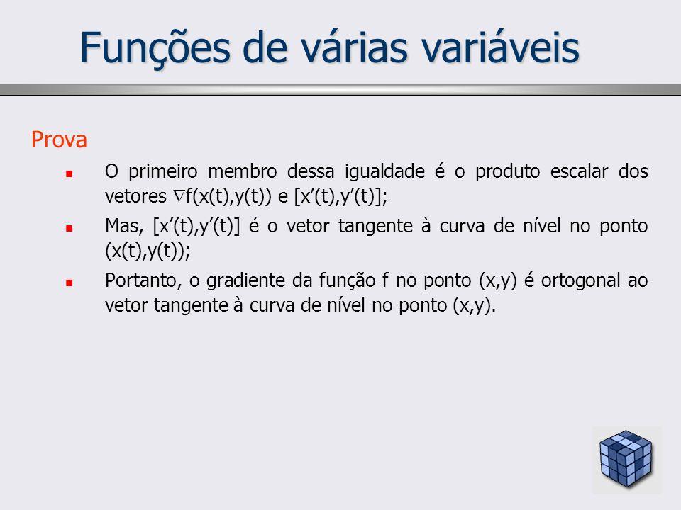 Funções de várias variáveis Prova O primeiro membro dessa igualdade é o produto escalar dos vetores f(x(t),y(t)) e [x(t),y(t)]; Mas, [x(t),y(t)] é o v