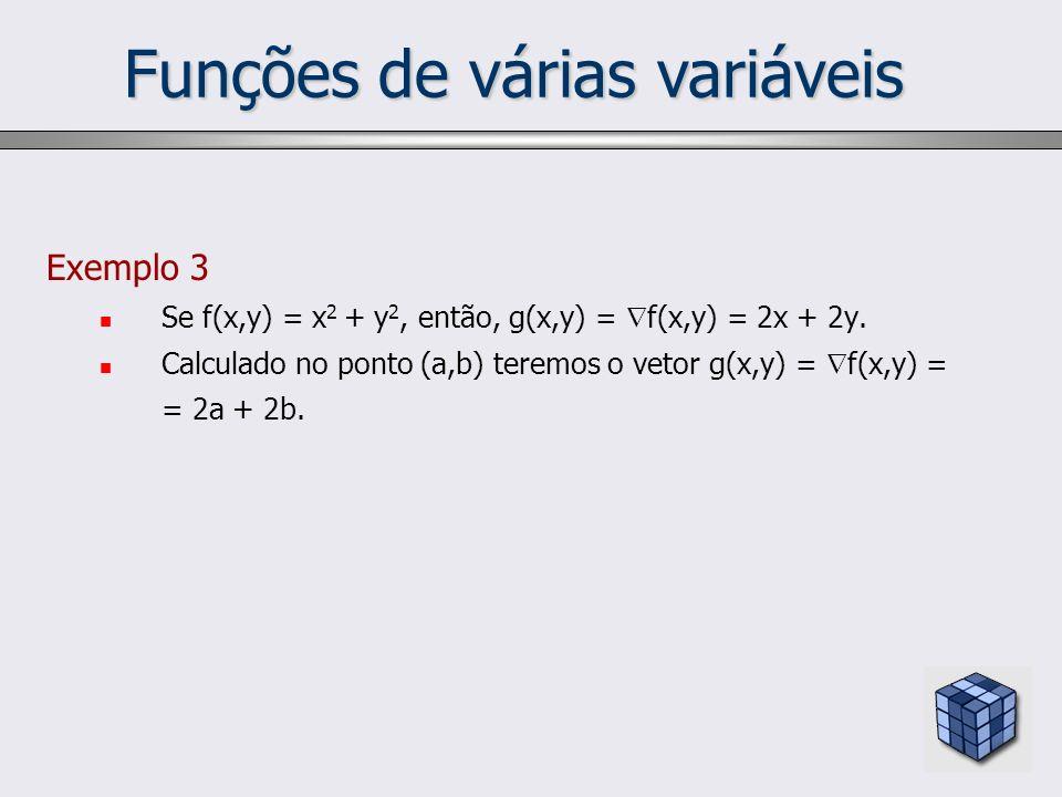 Funções de várias variáveis Exemplo 3 Se f(x,y) = x 2 + y 2, então, g(x,y) = f(x,y) = 2x + 2y. Calculado no ponto (a,b) teremos o vetor g(x,y) = f(x,y