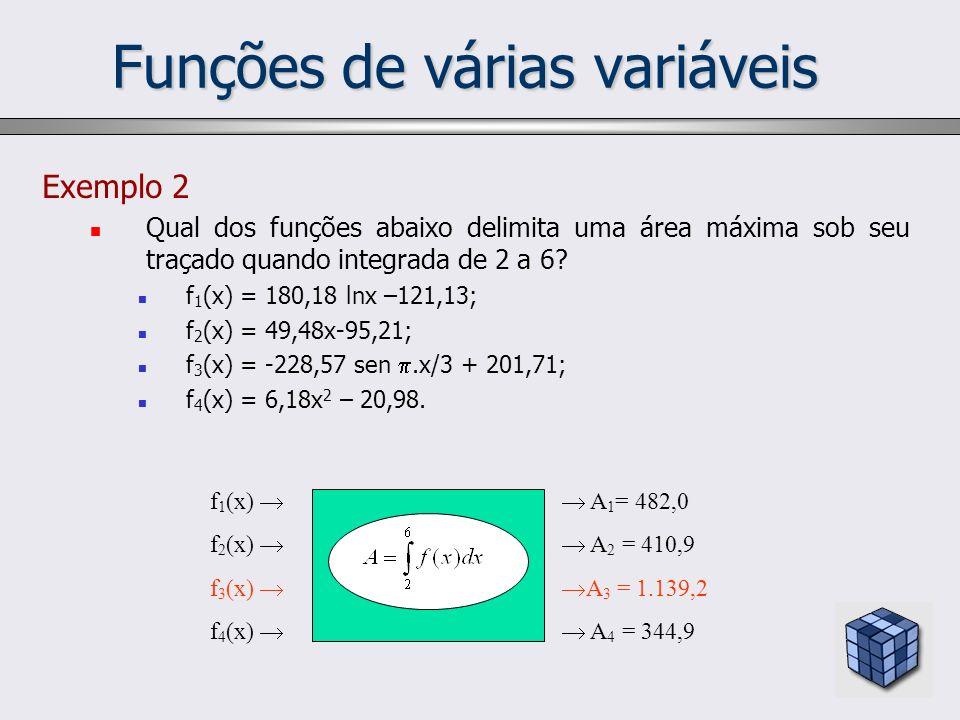 Funções de várias variáveis Exemplo 2 Qual dos funções abaixo delimita uma área máxima sob seu traçado quando integrada de 2 a 6? f 1 (x) = 180,18 lnx