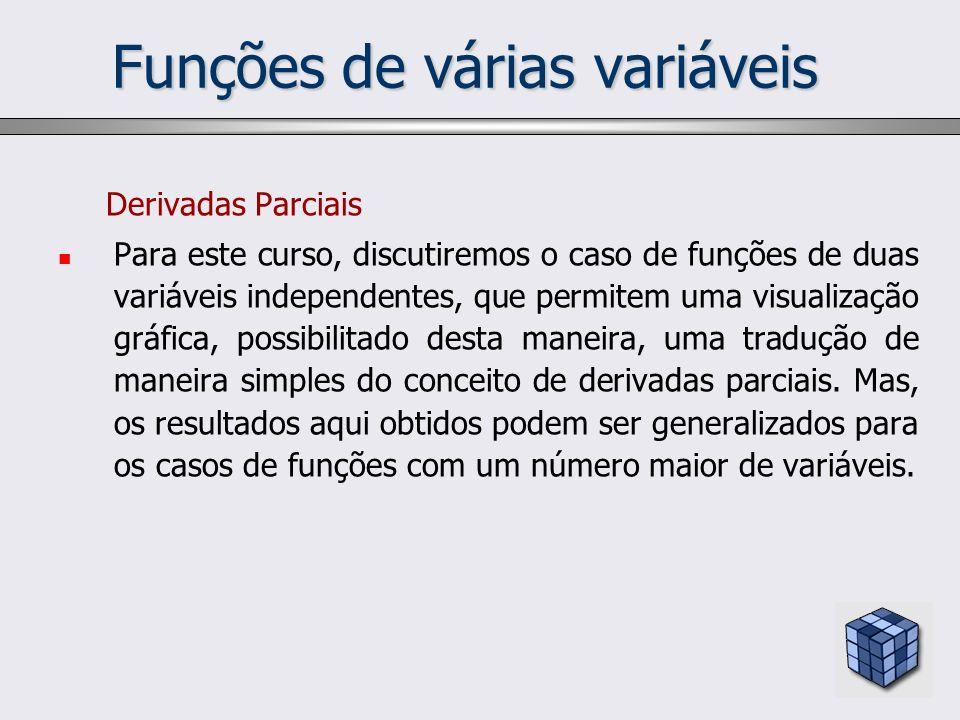 Funções de várias variáveis Derivadas Parciais Para este curso, discutiremos o caso de funções de duas variáveis independentes, que permitem uma visua