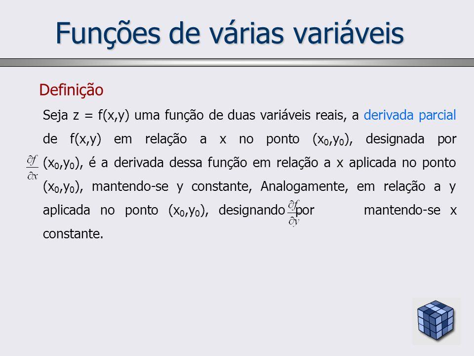Funções de várias variáveis Definição Seja z = f(x,y) uma função de duas variáveis reais, a derivada parcial de f(x,y) em relação a x no ponto (x 0,y