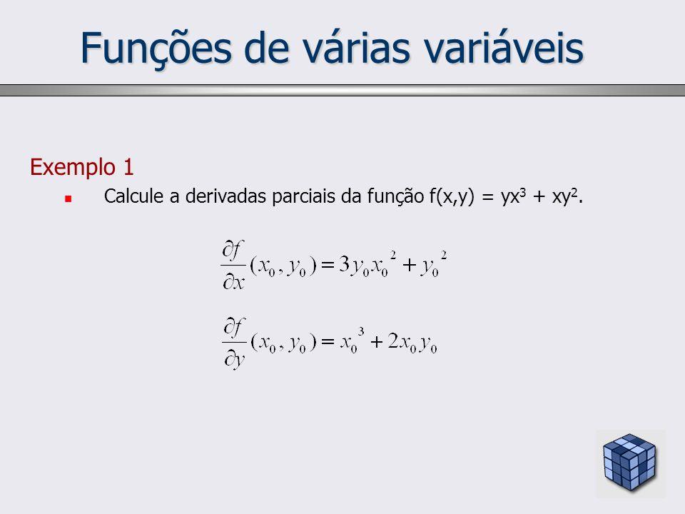 Funções de várias variáveis Exemplo 1 Calcule a derivadas parciais da função f(x,y) = yx 3 + xy 2.