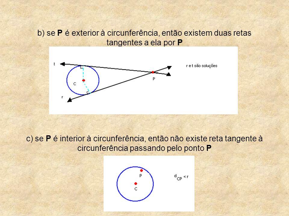 b) se P é exterior à circunferência, então existem duas retas tangentes a ela por P c) se P é interior à circunferência, então não existe reta tangent