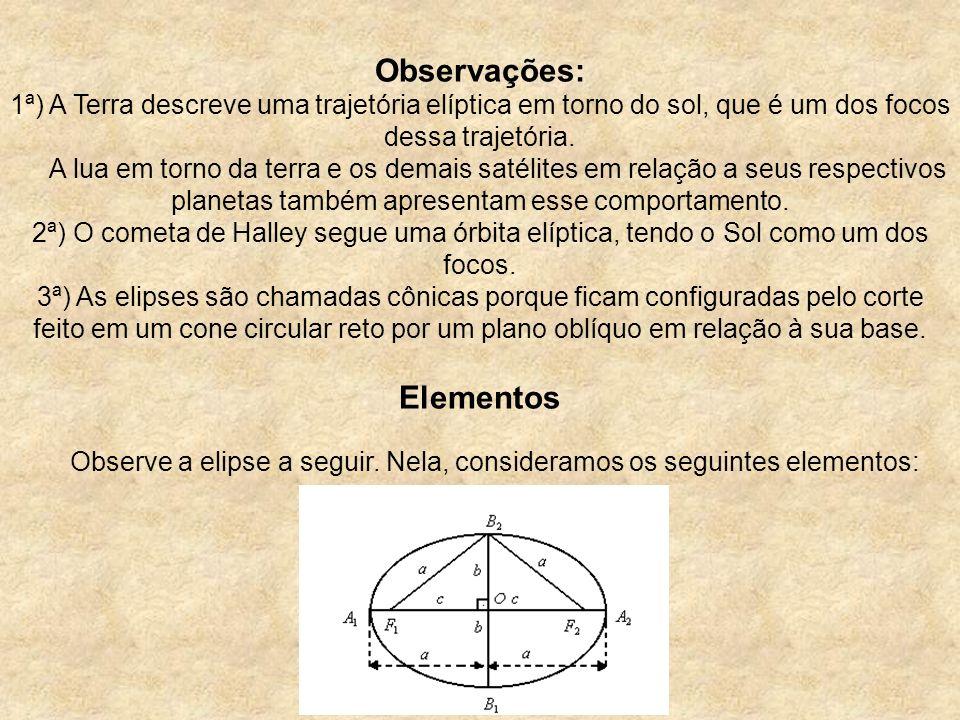Observações: 1ª) A Terra descreve uma trajetória elíptica em torno do sol, que é um dos focos dessa trajetória. A lua em torno da terra e os demais sa