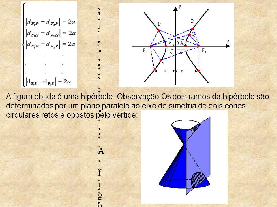 A figura obtida é uma hipérbole. Observação:Os dois ramos da hipérbole são determinados por um plano paralelo ao eixo de simetria de dois cones circul