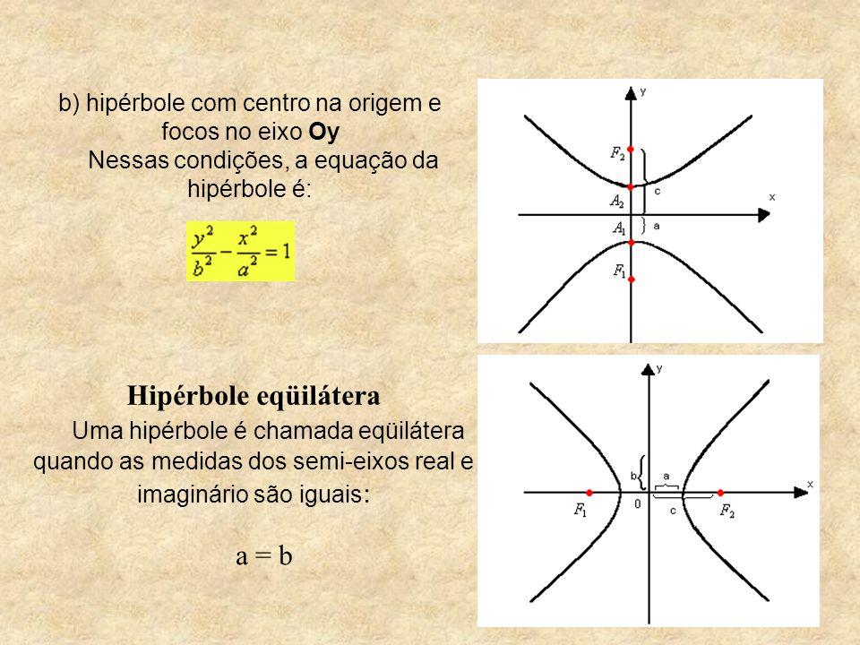 b) hipérbole com centro na origem e focos no eixo Oy Nessas condições, a equação da hipérbole é: Hipérbole eqüilátera Uma hipérbole é chamada eqüiláte