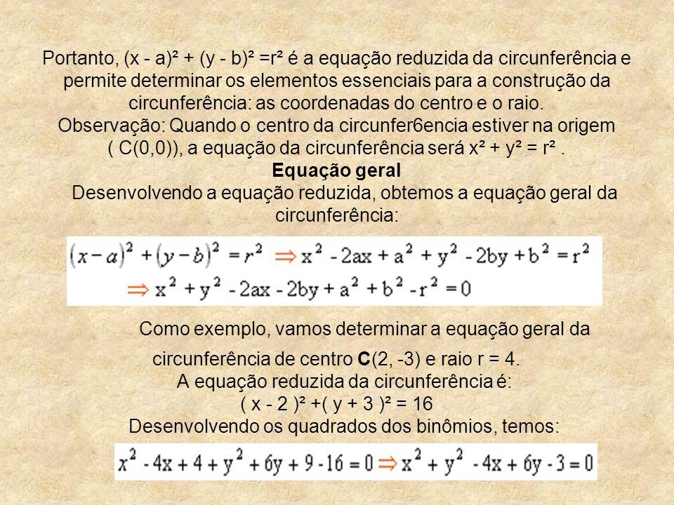 Portanto, (x - a)² + (y - b)² =r² é a equação reduzida da circunferência e permite determinar os elementos essenciais para a construção da circunferên