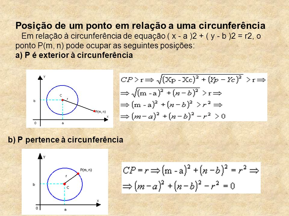 Posição de um ponto em relação a uma circunferência Em relação à circunferência de equação ( x - a )2 + ( y - b )2 = r2, o ponto P(m, n) pode ocupar a